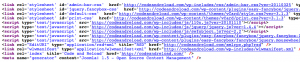This shows the same HTML code, but with the generator meta tag indicating (falsely) that the page was generated by Joomla!