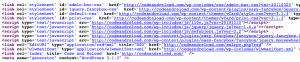 This shows a snippet of HTML code showing the generator meta tag as generated by WordPress.